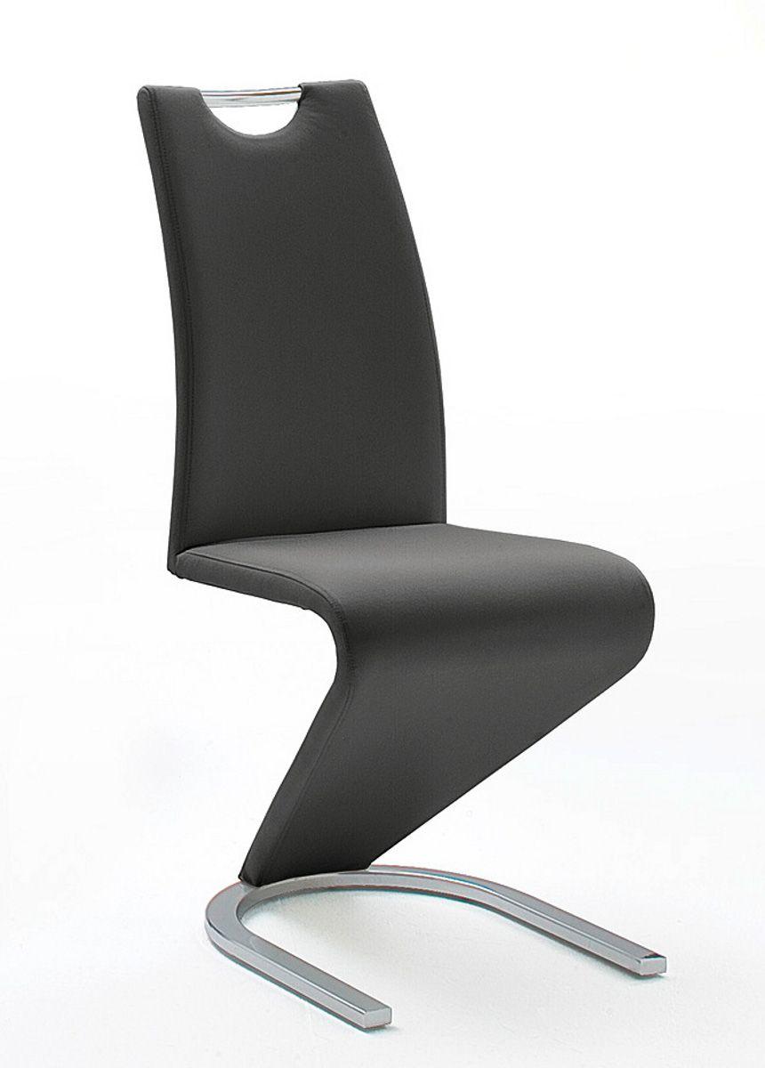 2 x Stuhl Amado Leder schwarz Schwingstuhl Esszimmer Freischwinger