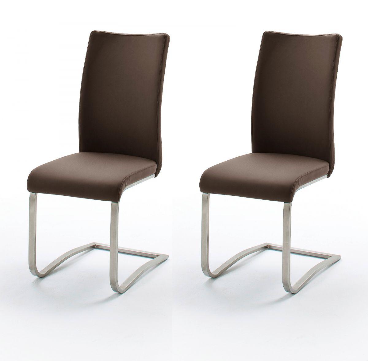 2 x Stuhl Arco Braun Schwinger Kunstleder