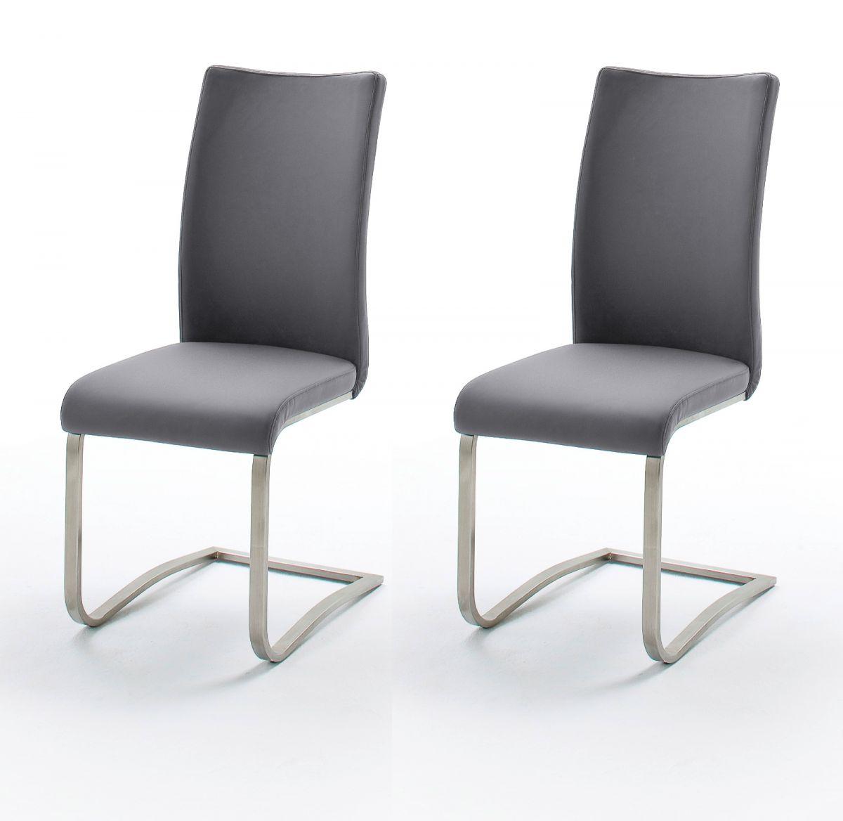 2 x Stuhl Arco Grau Freischwinger Leder