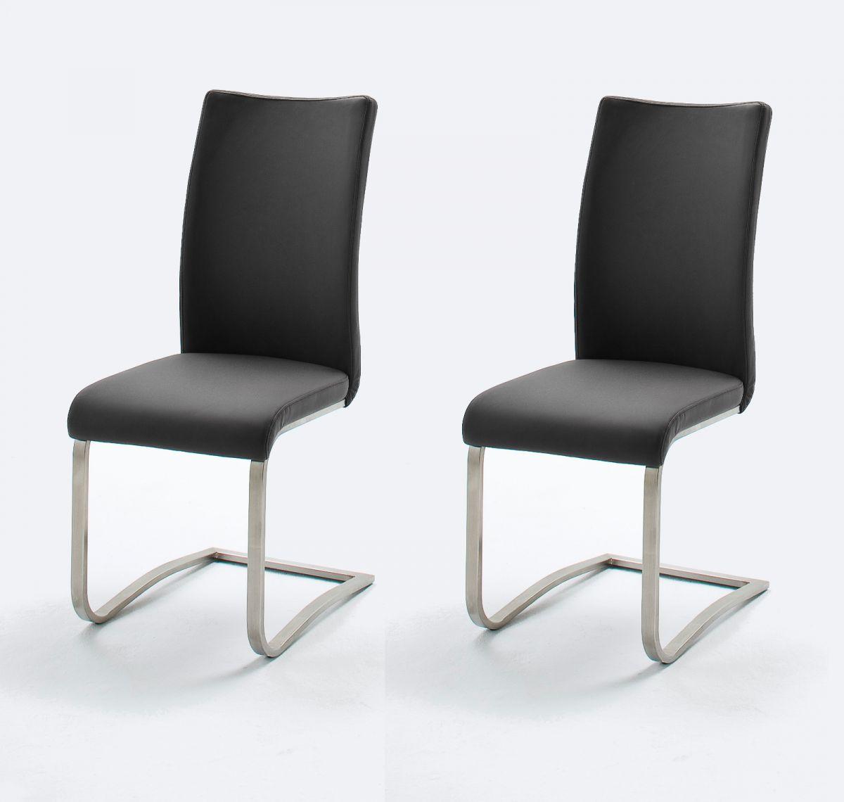 2 x Stuhl Arco Schwarz Freischwinger Leder