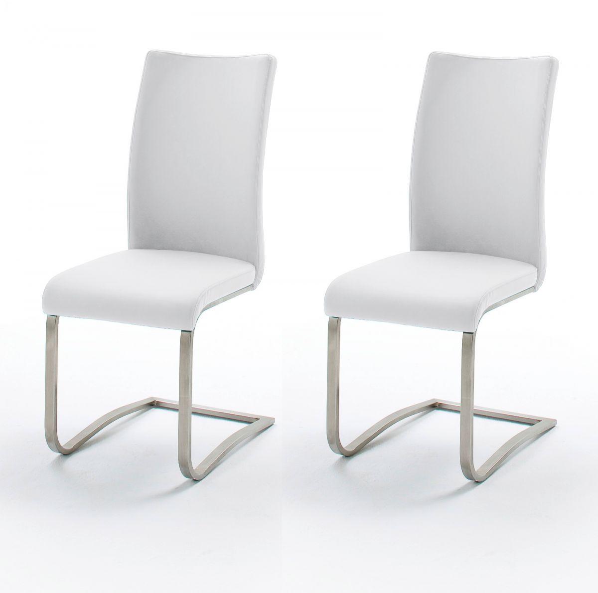 2 x Stuhl Arco Weiss Freischwinger Leder
