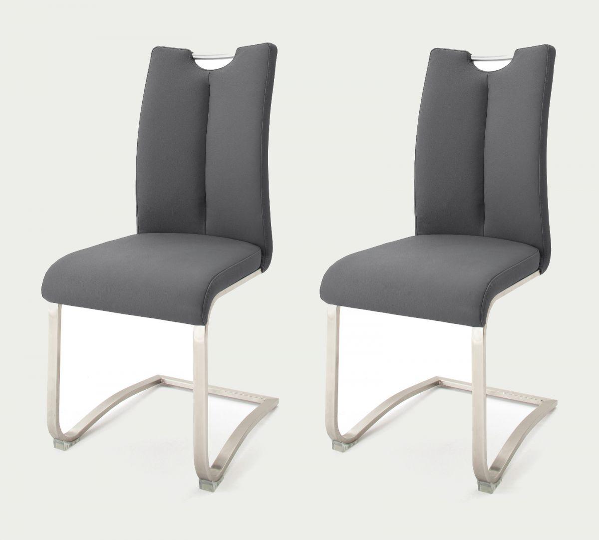 2 x Stuhl Artos Grau Schwinger Leder