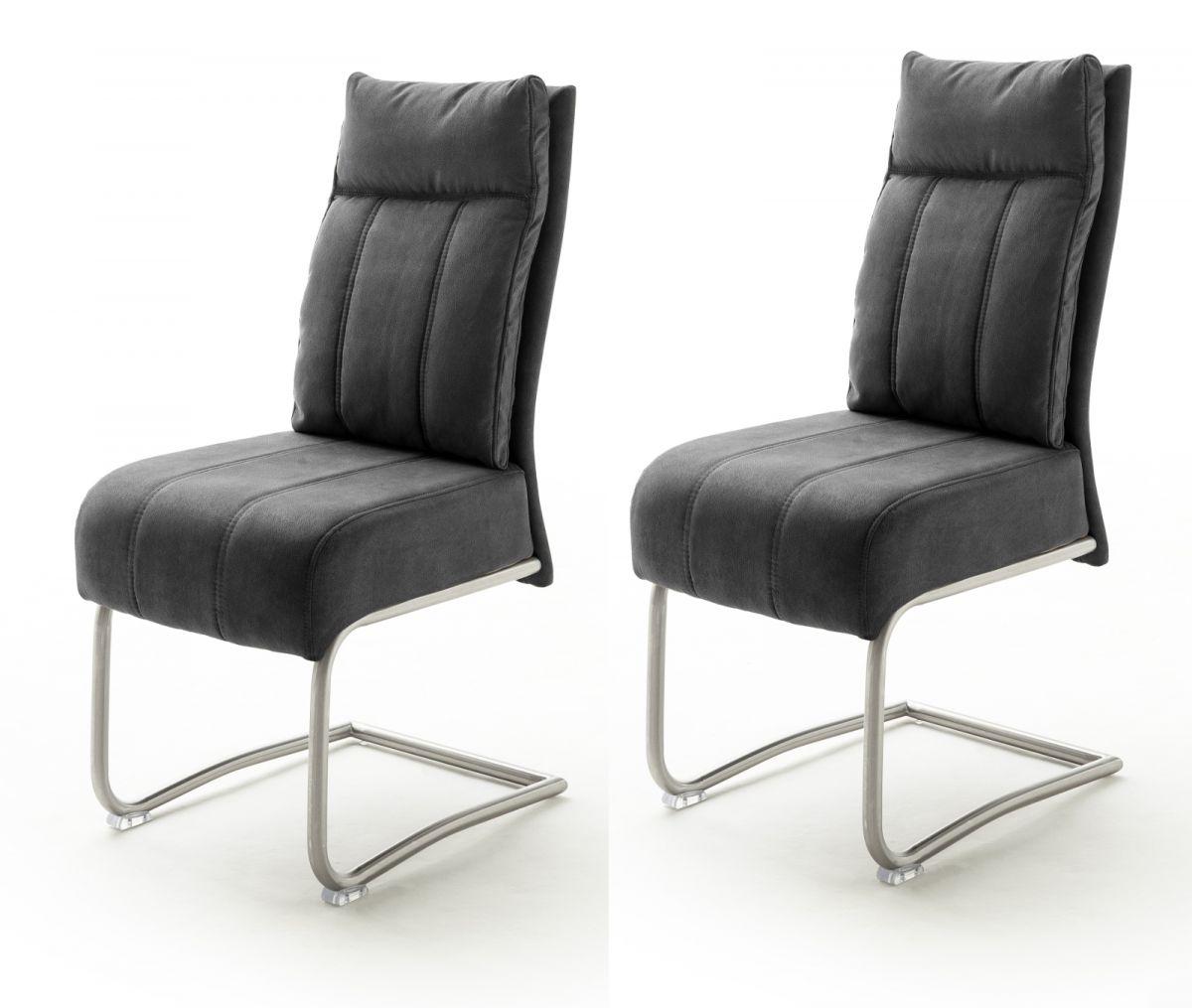 2 x Stuhl Azul dunkelgrau Antik Freischwinger Edelstahl