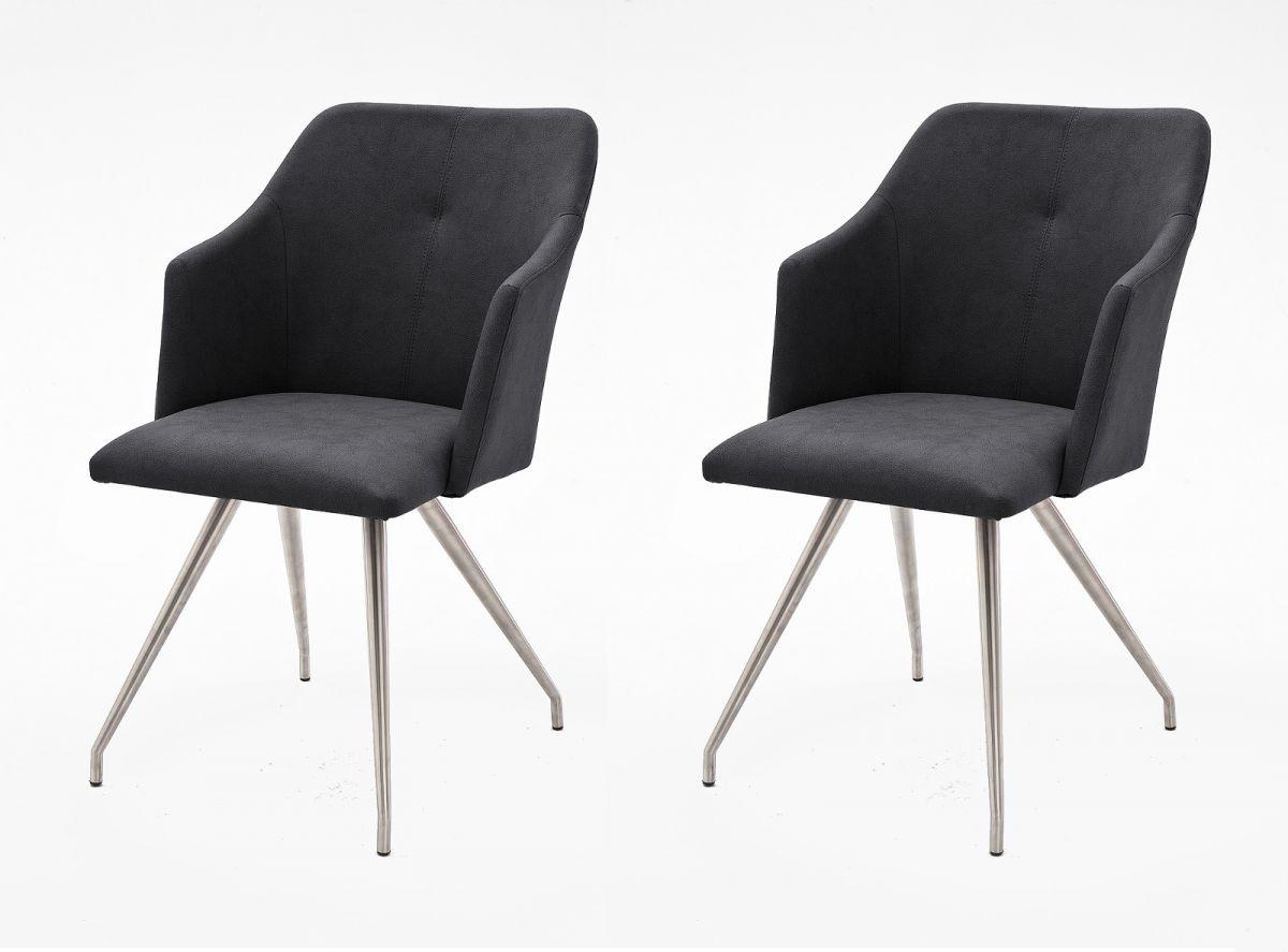 2 x Stuhl Madita Anthrazit 4-Fuss Kunstleder