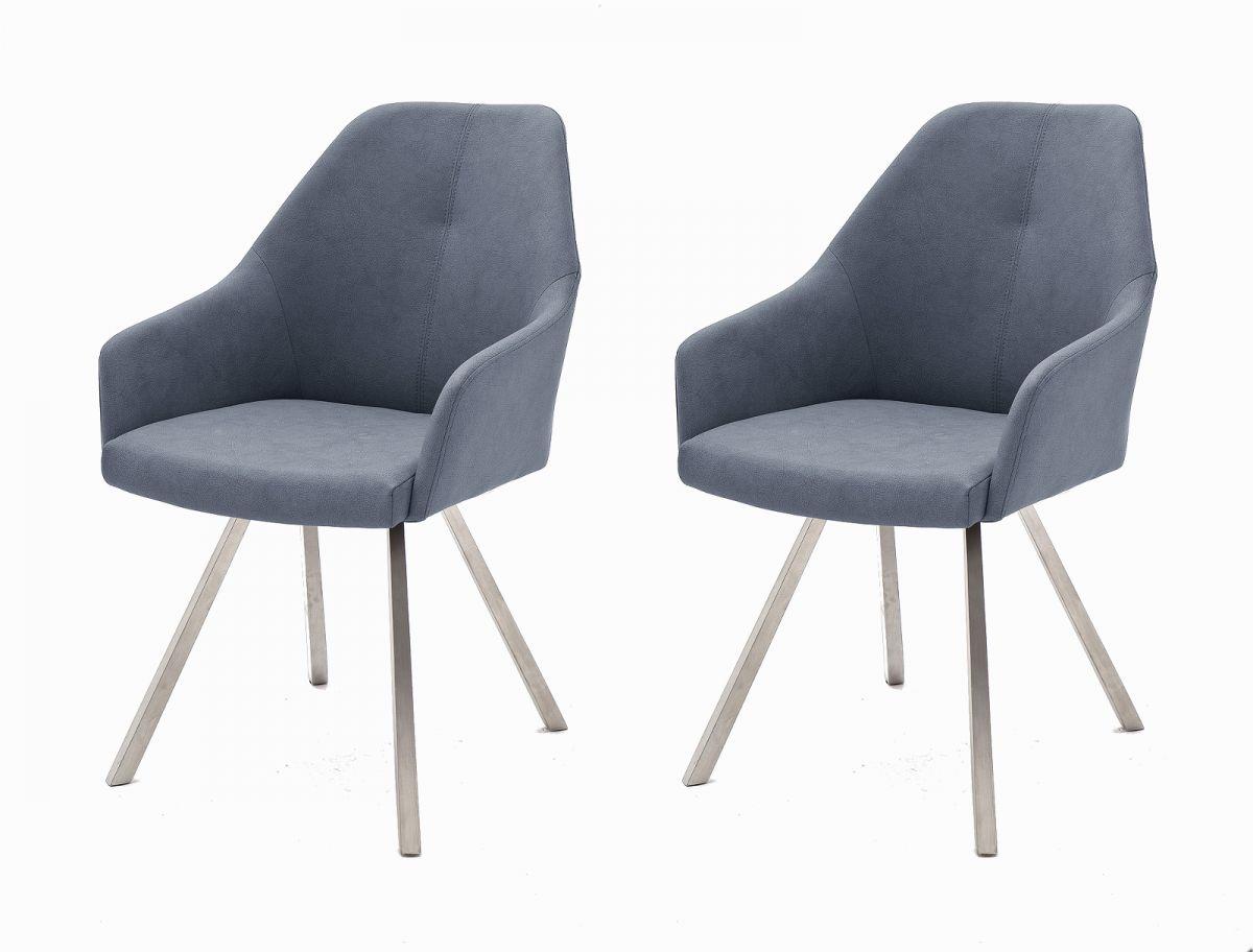 2 x Stuhl Madita Graublau 4-Fuss Kunstleder