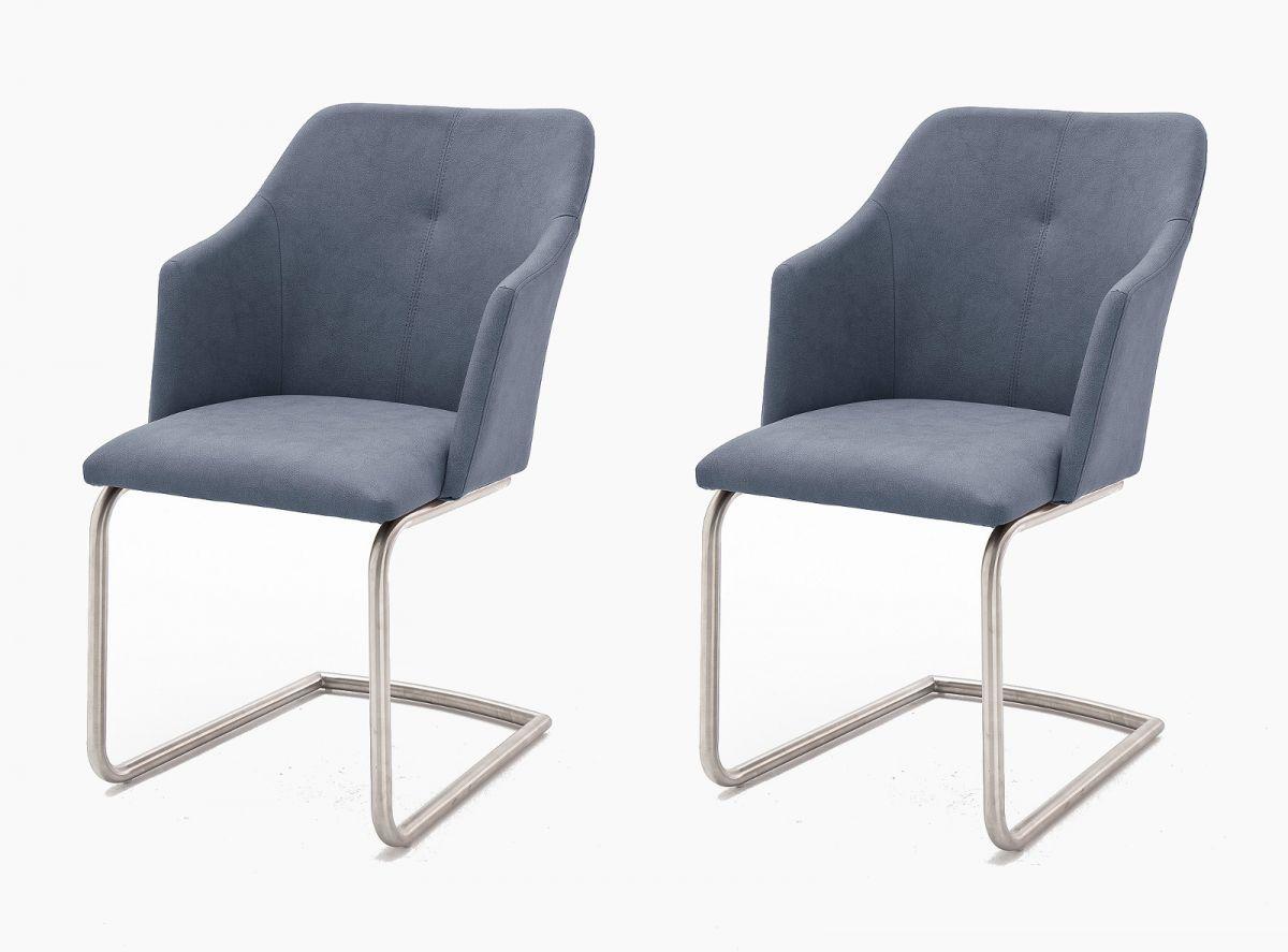 2 x Stuhl Madita Graublau Schwinger Kunstleder