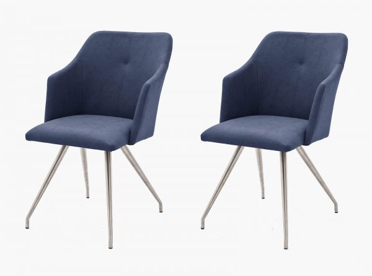 2 x Stuhl Madita Nachtblau 4-Fuss Kunstleder