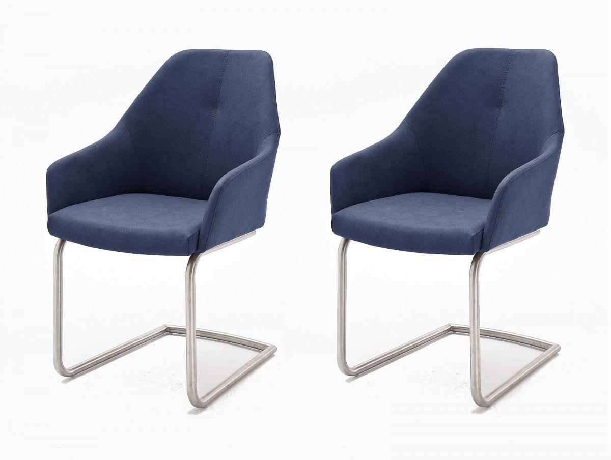2 x Stuhl Madita Nachtblau Schwinger Kunstleder