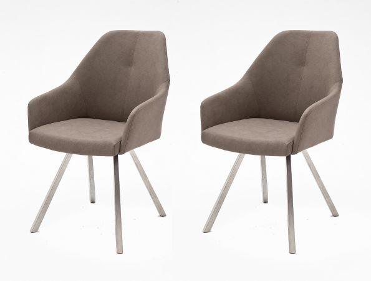 2 x Stuhl Madita Taupe 4-Fuss Kunstleder