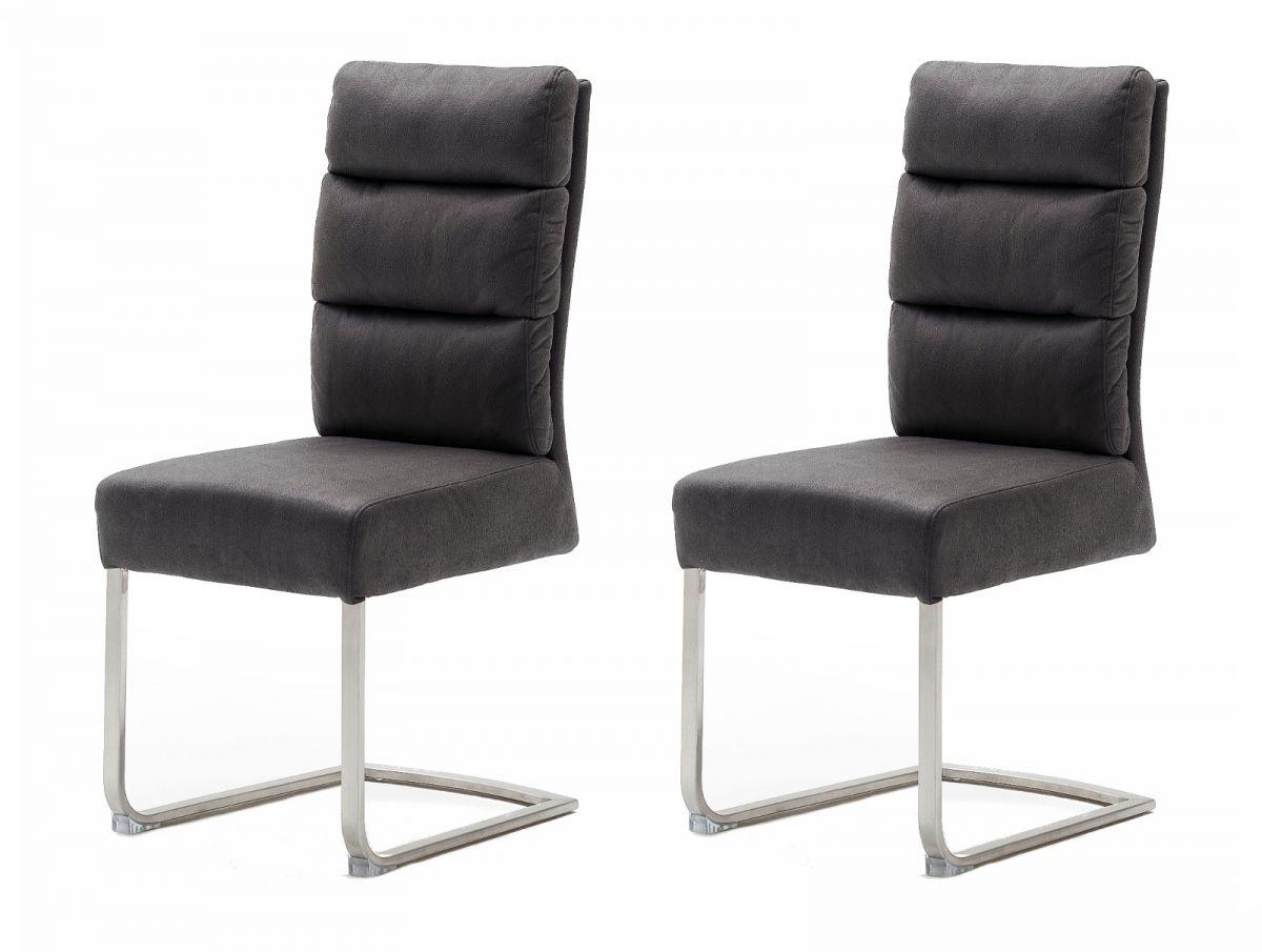 2 x Stuhl Rochester grau Antik Freischwinger Edelstahl