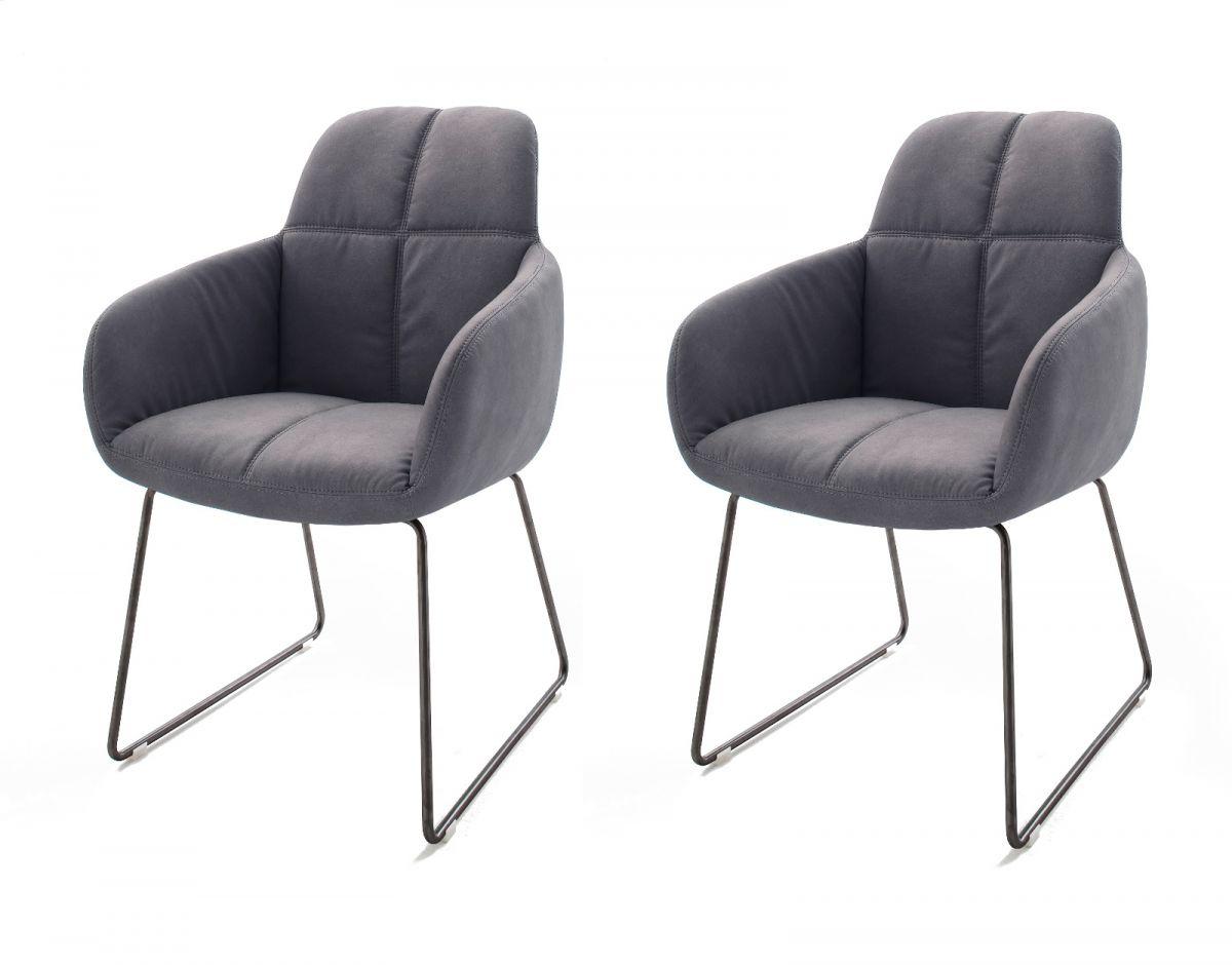2 x Stuhl Tessera Grau Kufengestell Kunstleder