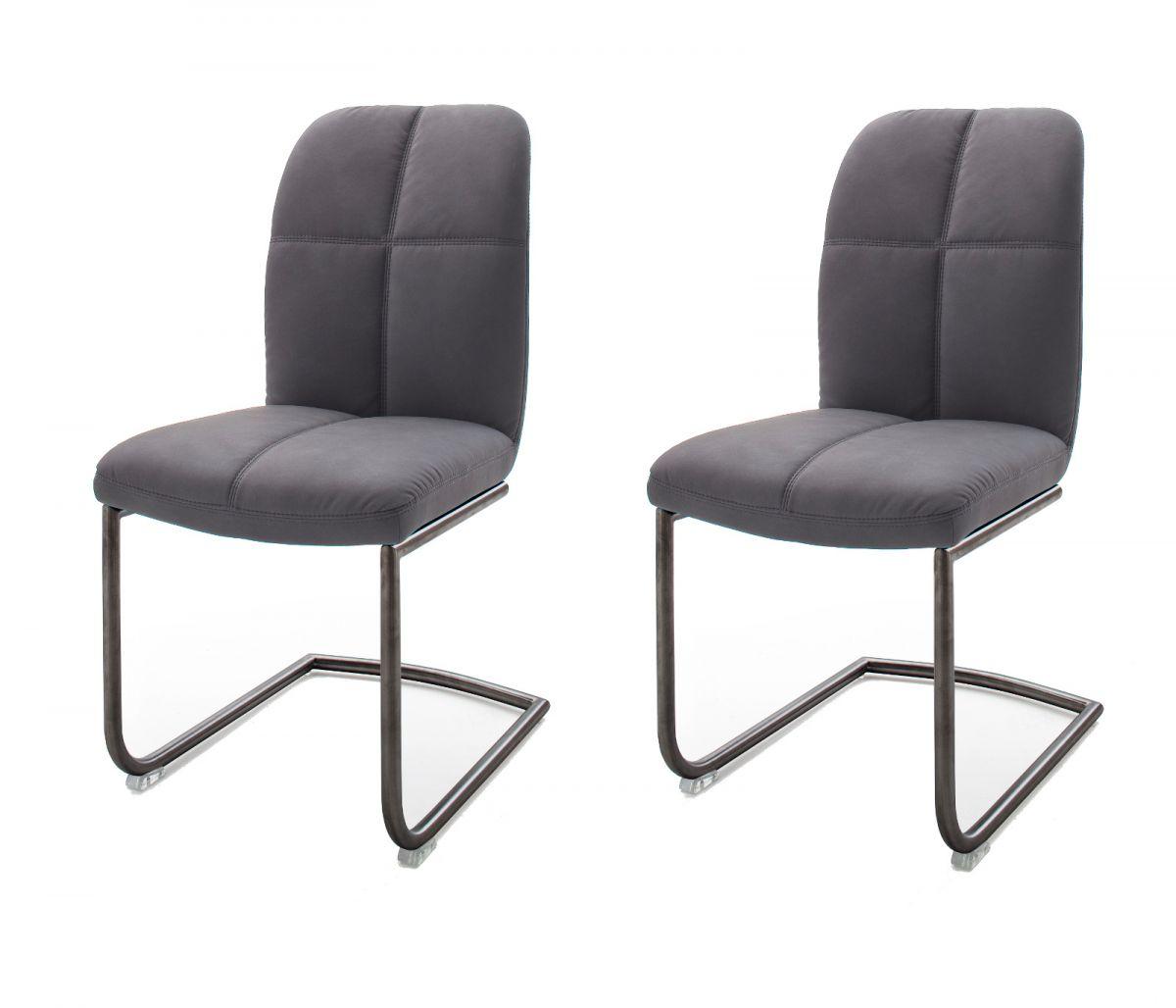 2 x Stuhl Tessera Grau Schwinger Kunstleder