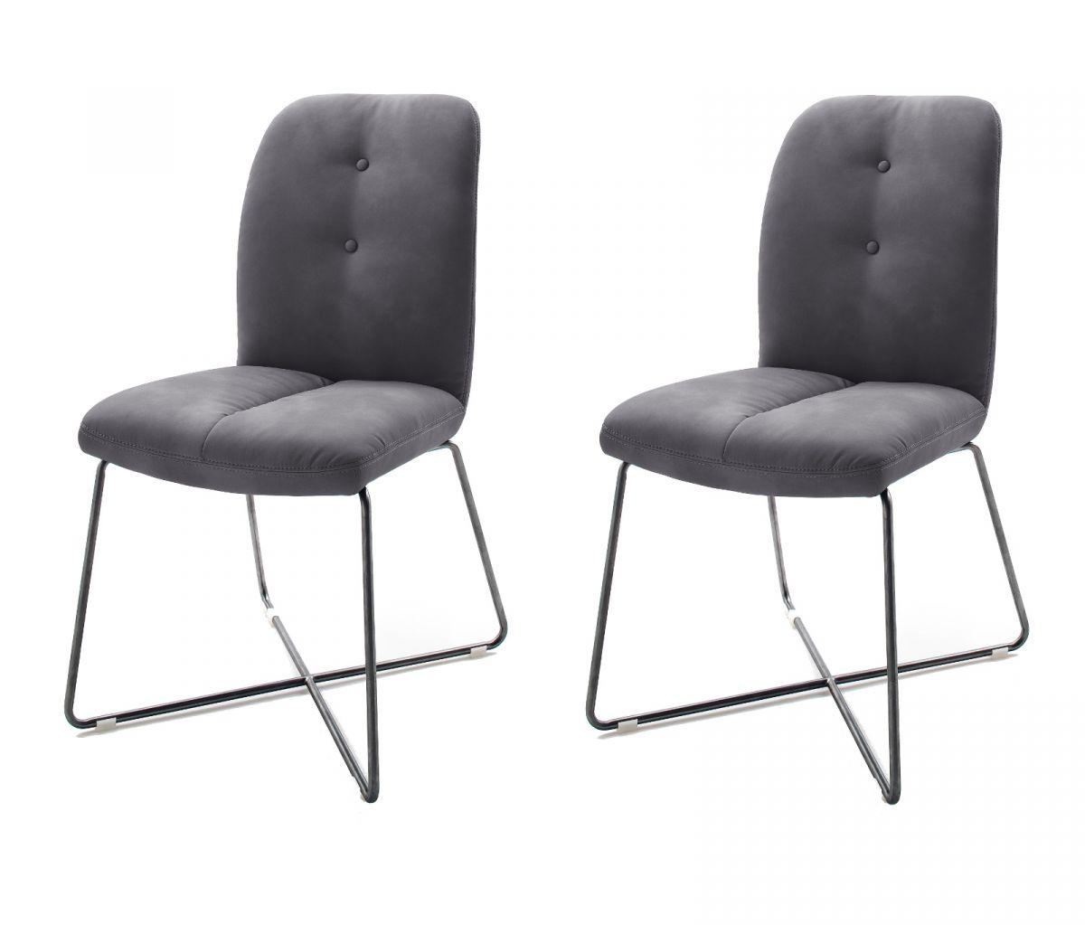 2 x Stuhl Tessera Grau X-Kufen Gestell Kunstleder