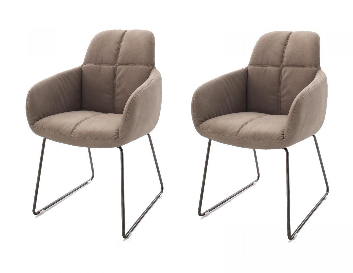 2 x Stuhl Tessera Schlamm Kufengestell Kunstleder