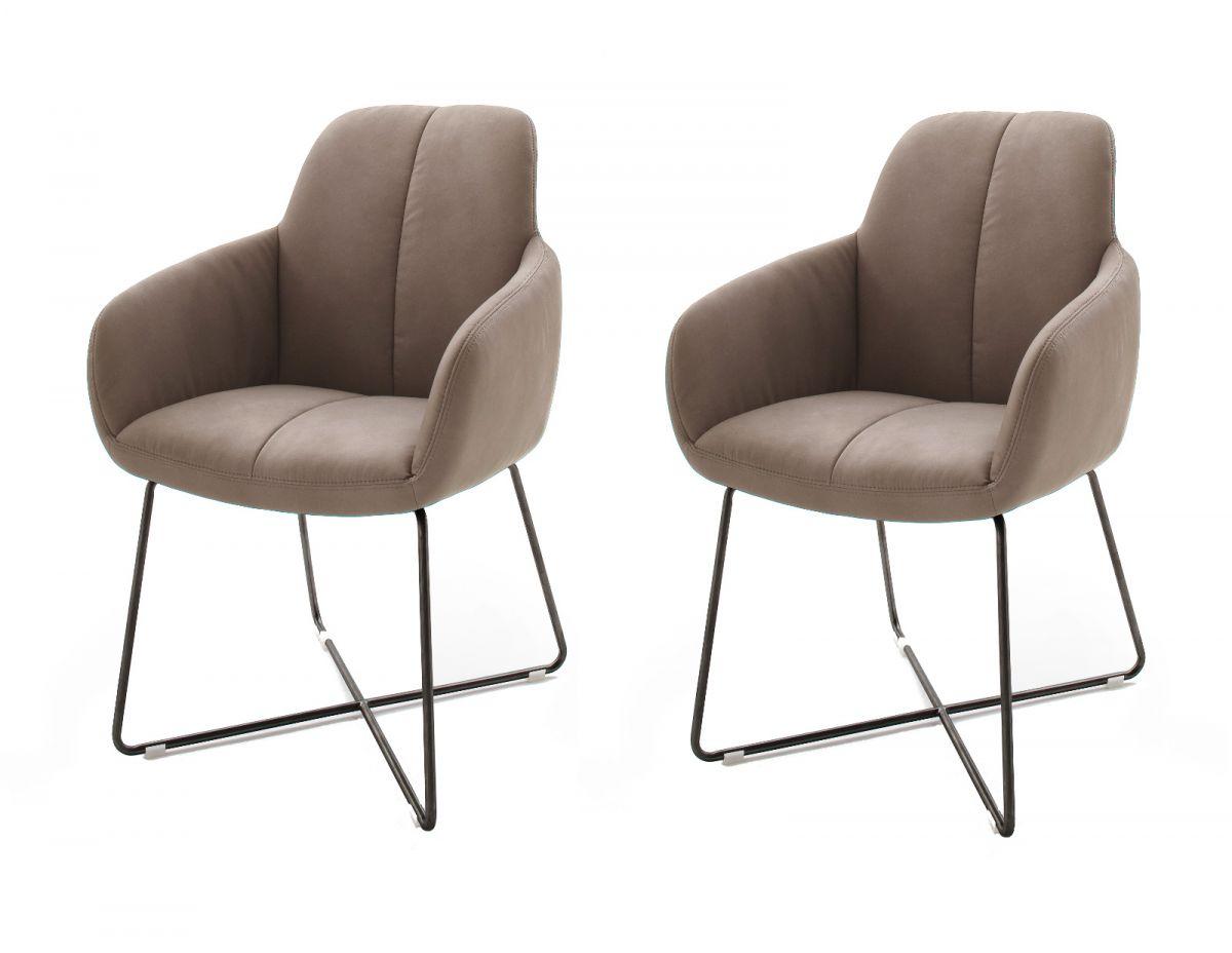 2 x Stuhl Tessera Schlamm X-Kufen Gestell Kunstleder