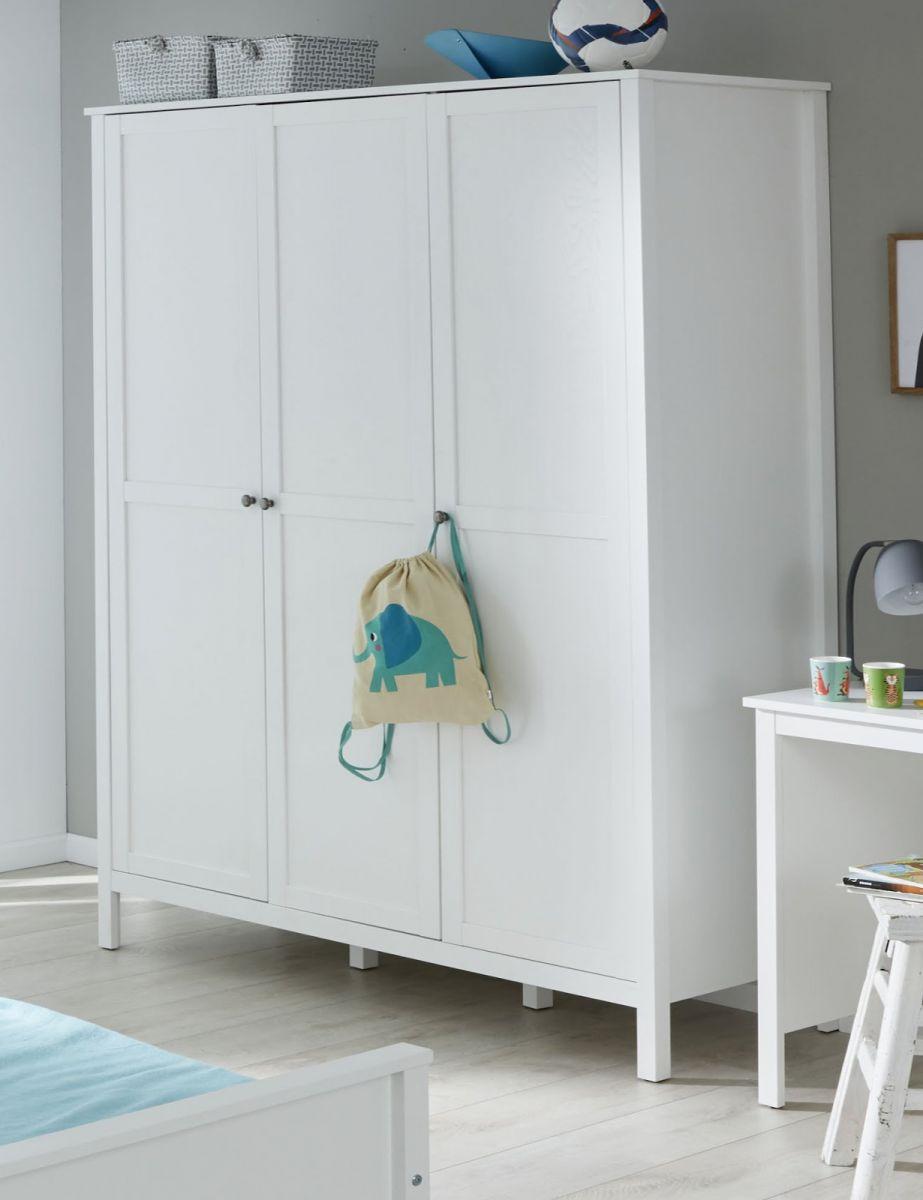 Baby und Kinderzimmer XXL Kleiderschrank Ole weiss 3-türig 140 cm