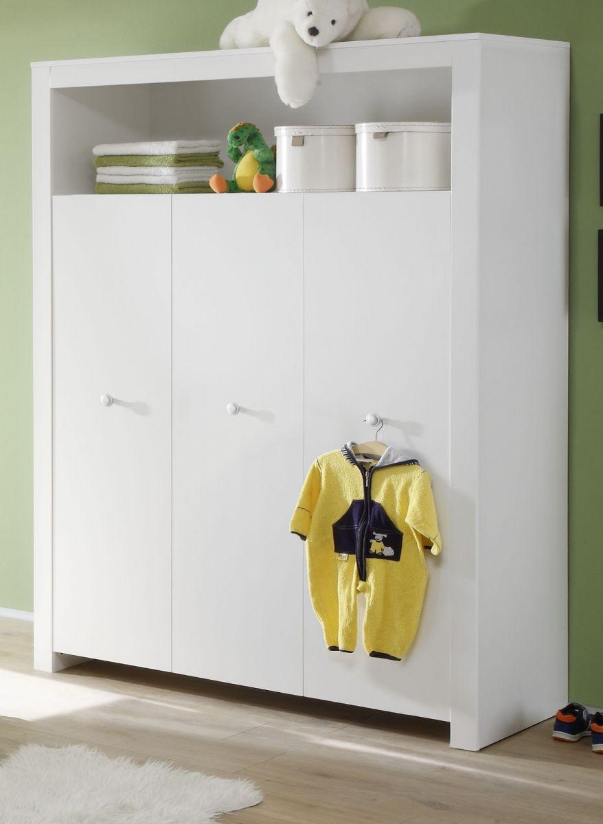 Babyzimmer Kinderzimmer Kleiderschrank Olivia 130 cm 3-türig- optional mit blau oder rosa