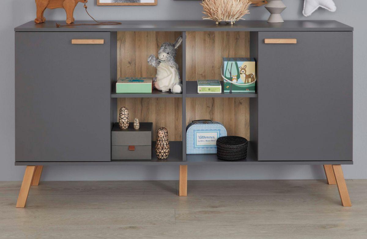 Babyzimmer Kinderzimmer Sideboard Mats grau matt mit Buche massiv 160 cm