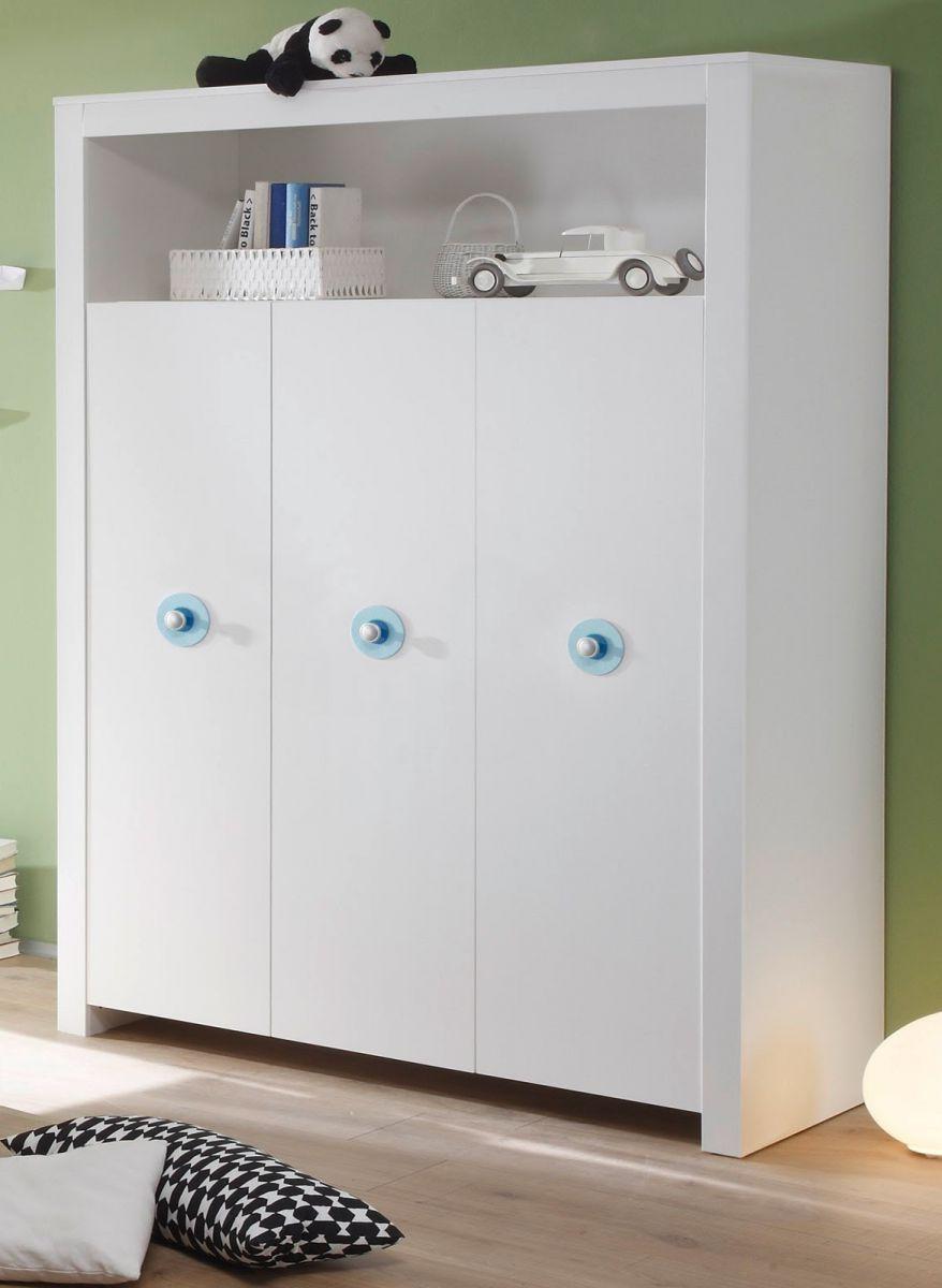 Babyzimmer Kleiderschrank 3-türig Olivia weiss Applikationen blau 130 x 186 cm