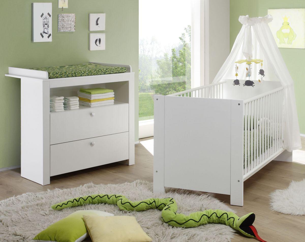 Babyzimmer komplett Set weiss 2-teilig Olivia