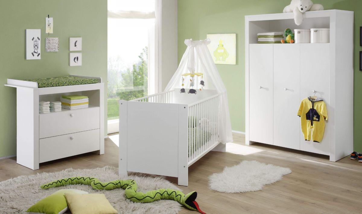 Babyzimmer komplett Set weiss 3-teilig Kleiderschrank Wickelkommode Babybett Olivia