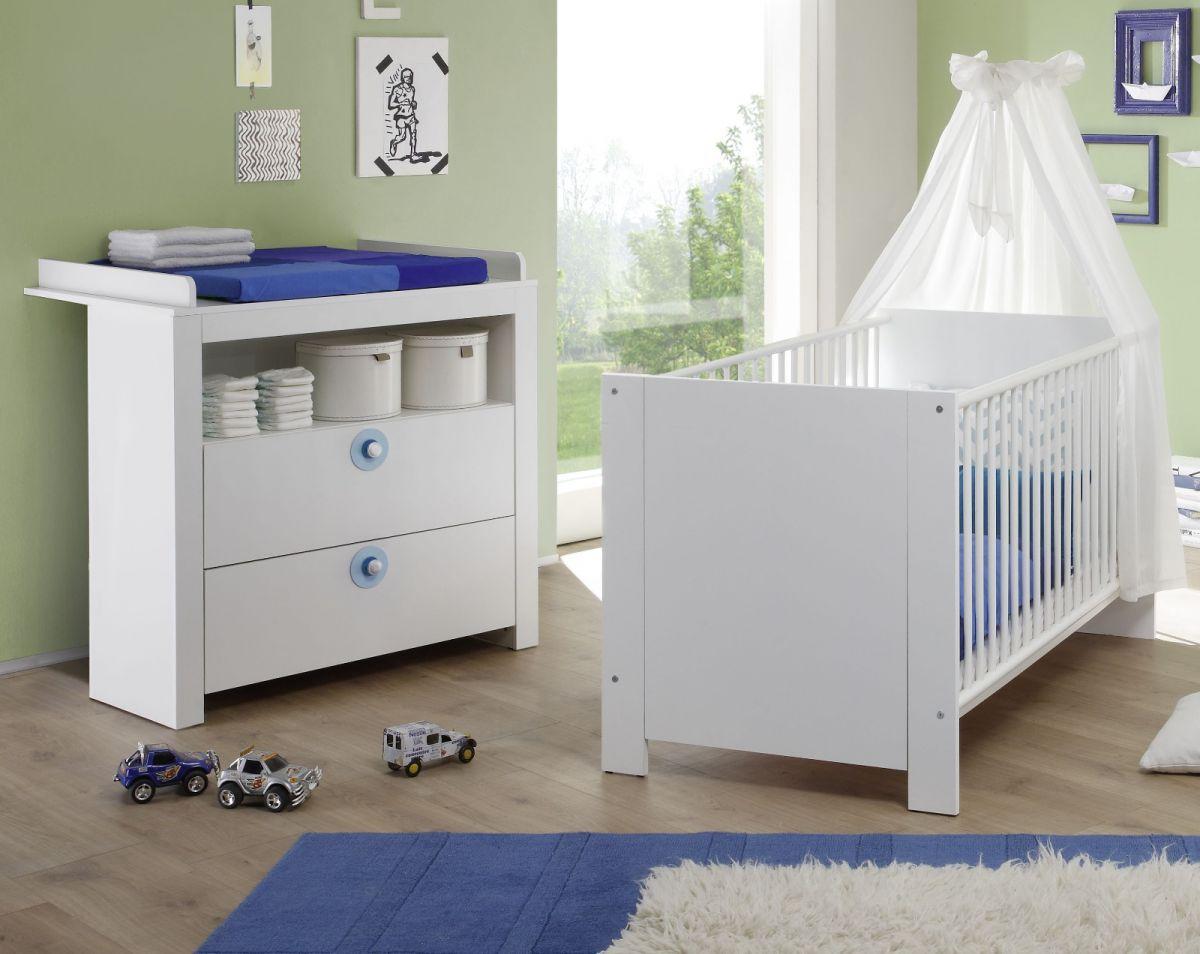 Babyzimmer komplett Set weiss und blau 2-teilig Olivia