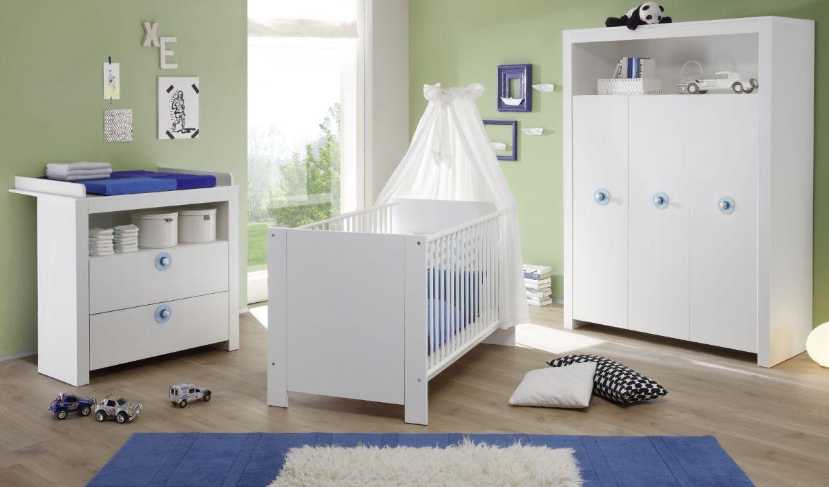 Babyzimmer komplett Set weiss und blau 3-teilig Olivia