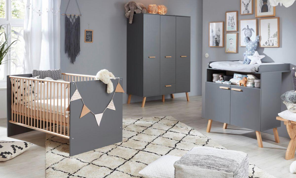 Babyzimmer Mats grau matt mit Buche massiv komplett Set 3-tlg-