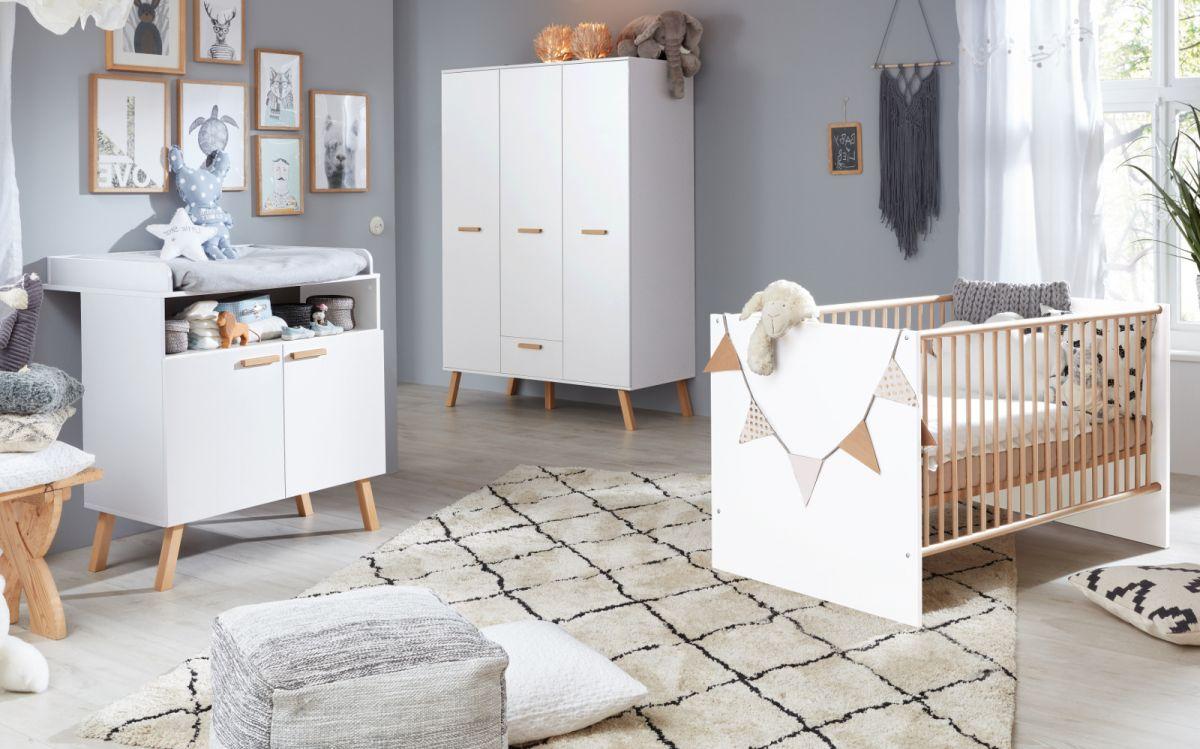 Babyzimmer Mats weiss matt mit Buche massiv komplett Set 3-tlg-