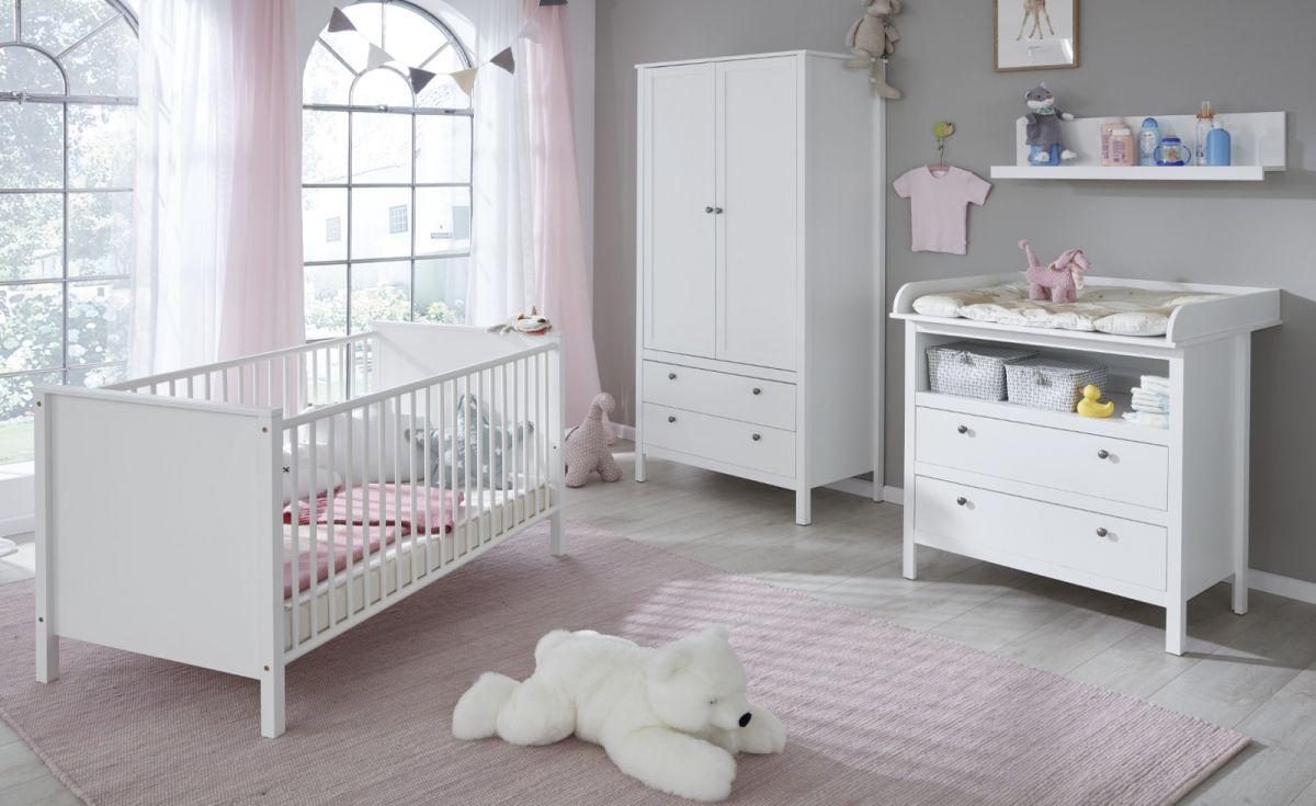 Babyzimmer Ole in Landhaus weiss komplett Set 4-teilig