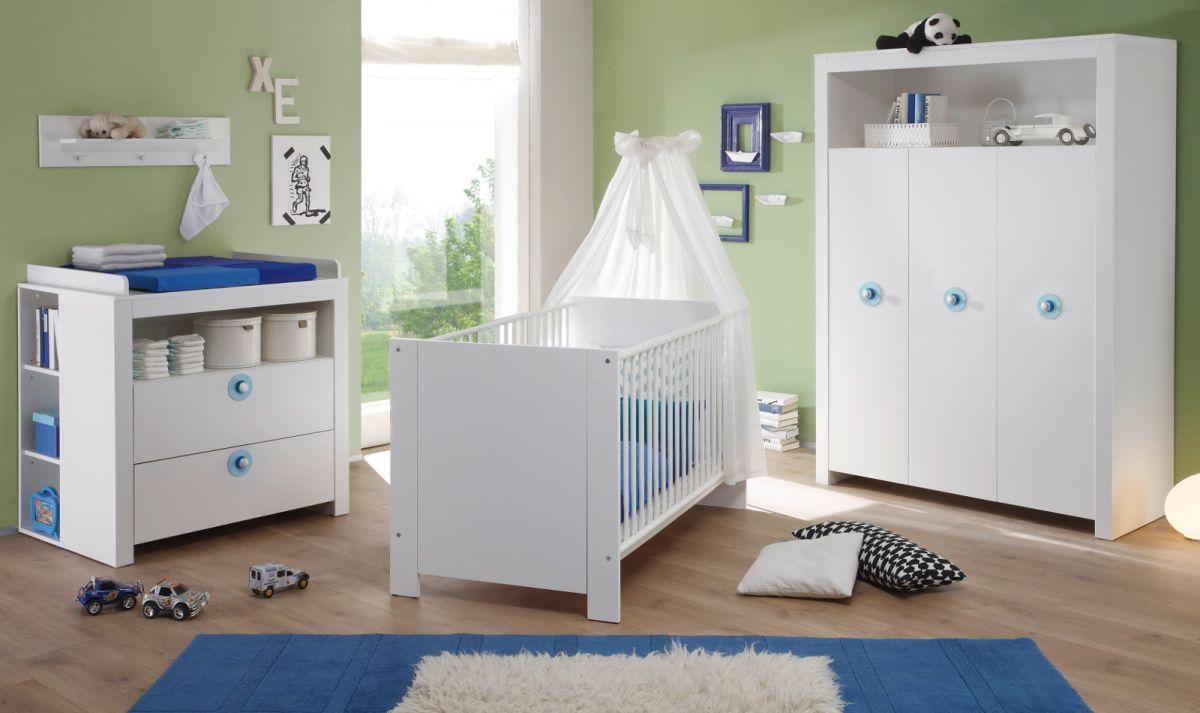 Babyzimmer Olivia komplett Set weiss und blau Babymöbel 5-teilig