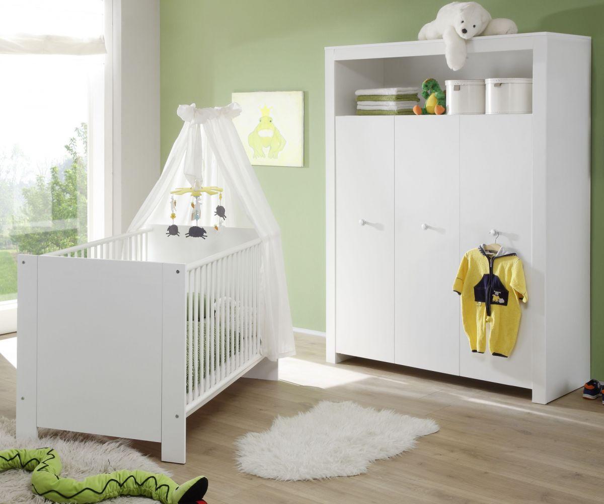 Babyzimmer Set Olivia weiss 2-teilig Babybett und Kleiderschrank