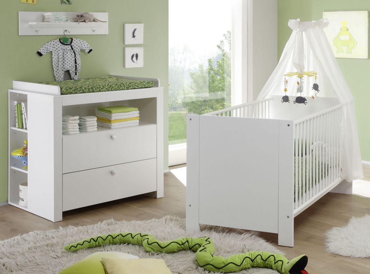 Babyzimmer Set Olivia weiss 4-teilig mit Babybett Wickelkommode und Regalen