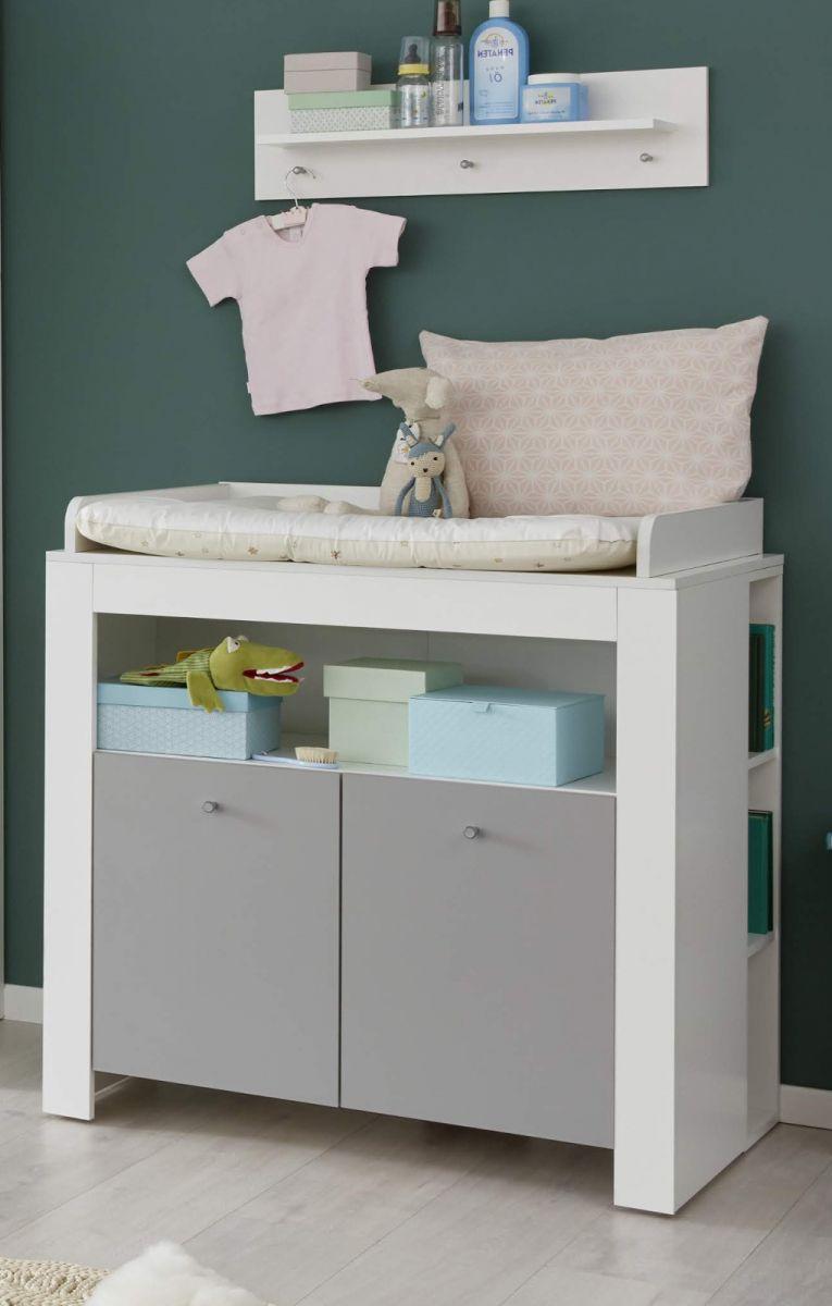 Babyzimmer Wickelkommode Wilson weiss und grau 96 cm