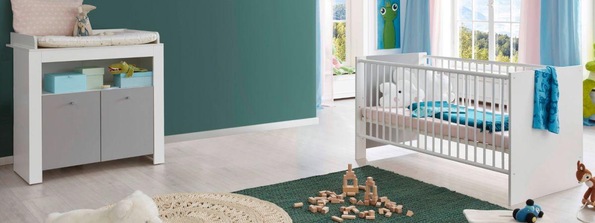 Babyzimmer Wilson weiss und grau komplett Set 2-teilig