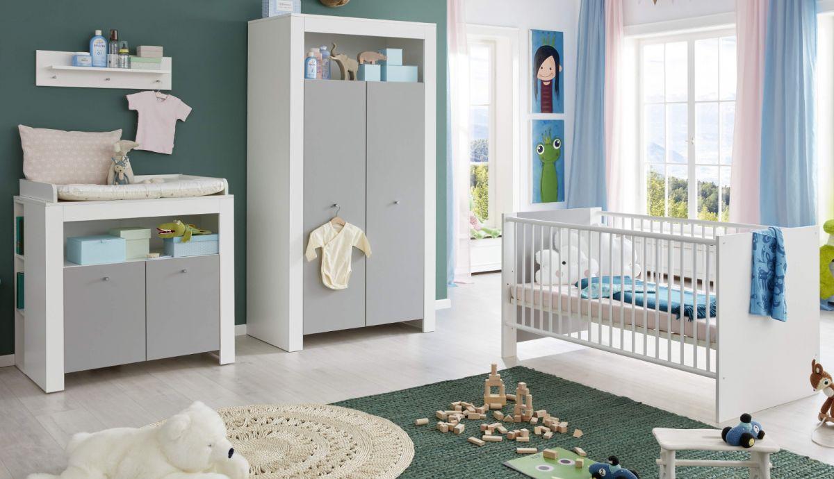 Babyzimmer Wilson weiss und grau komplett Set 3-teilig