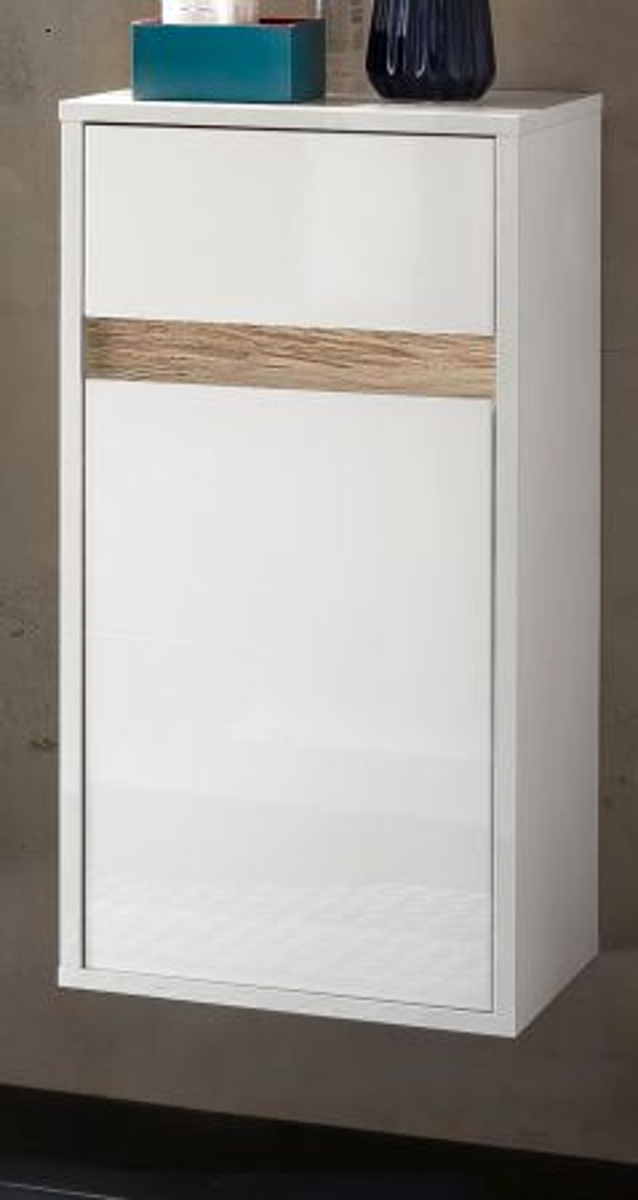 Bad Hängeschrank Sol Hochglanz weiss Lack und Alteiche Dekor 35x73 cm