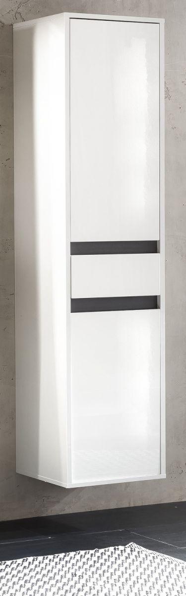 Bad Hochschrank SOL Lack weiss Hochglanz und grau 35x172 cm