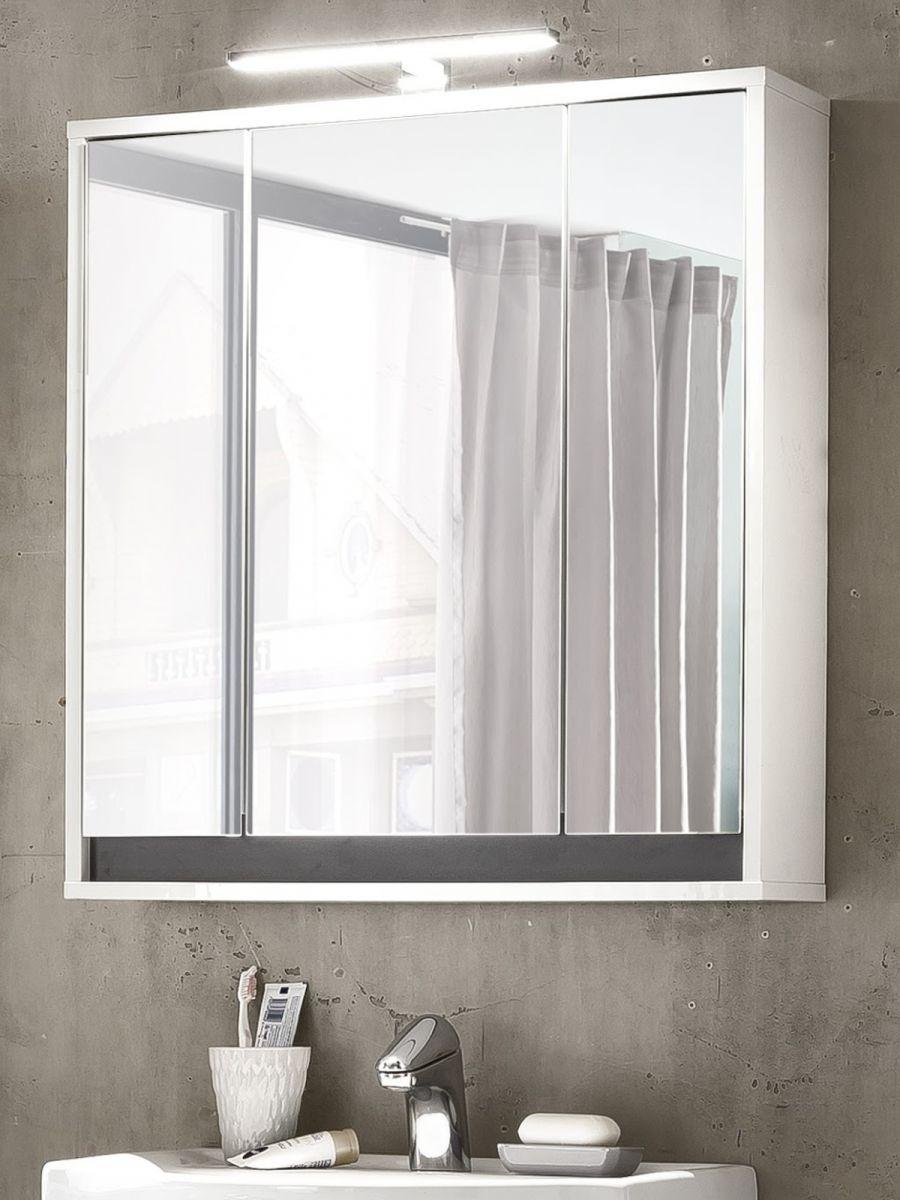 Bad Spiegelschrank 3 Türen 3D in weiss und grau SOL 67 x 73 cm