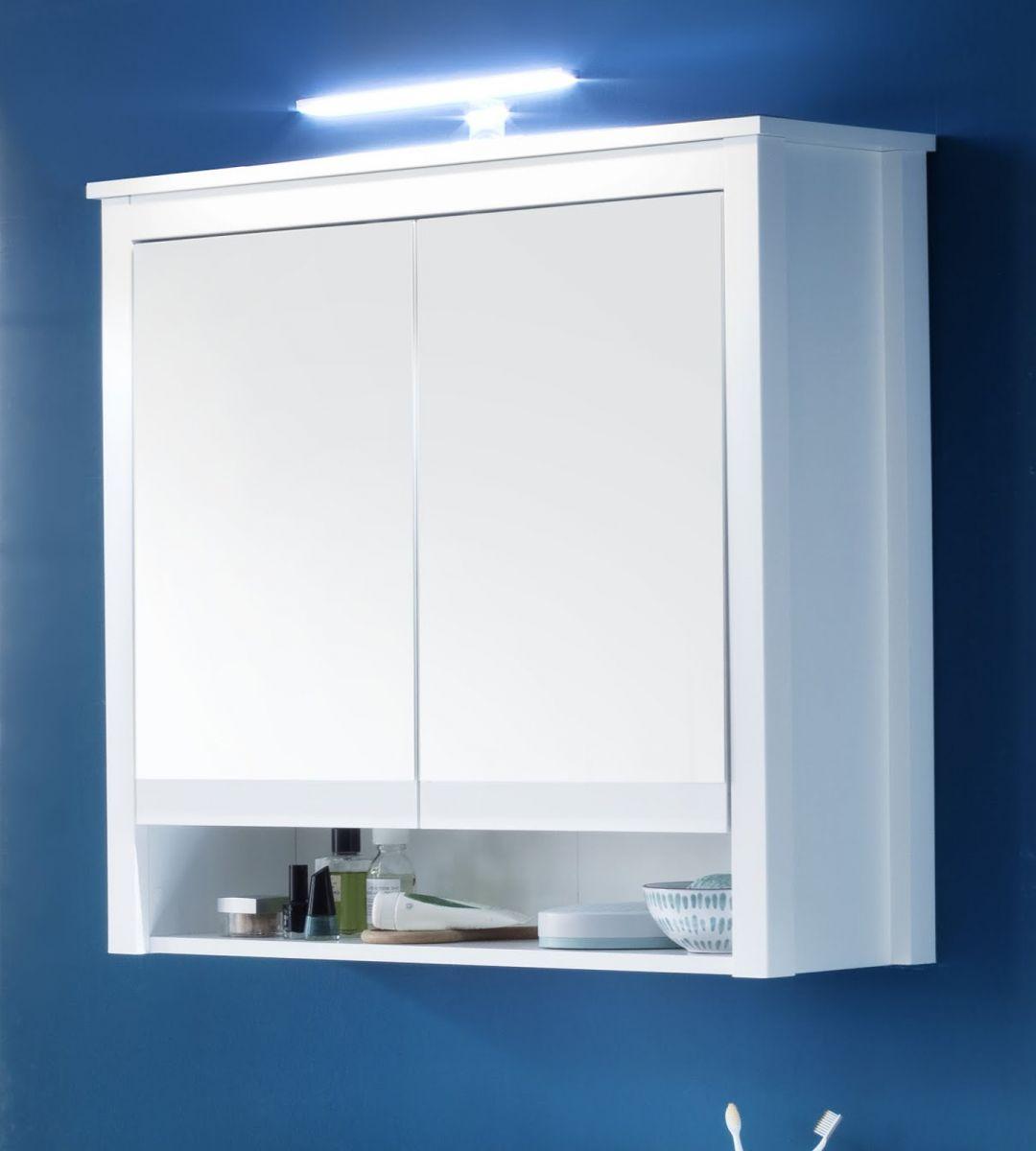 Bad Spiegelschrank Ole weiss Landhaus 80 cm inkl- LED Spiegellampe