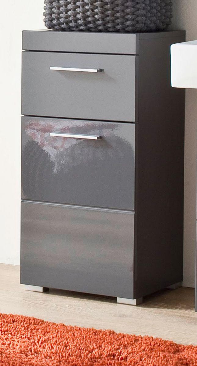 Bad Unterschrank Amanda Hochglanz grau Kommode 37 x 79 cm