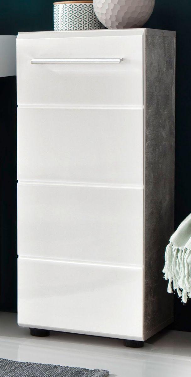 Bad Unterschrank Nano in weiss Hochglanz und Stone Design grau 32 cm Kommode