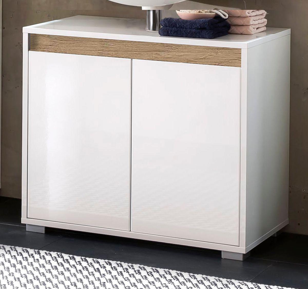 Bad Waschbeckenunterschrank Sol Hochglanz weiss Lack und Alteiche Dekor 67x60 cm