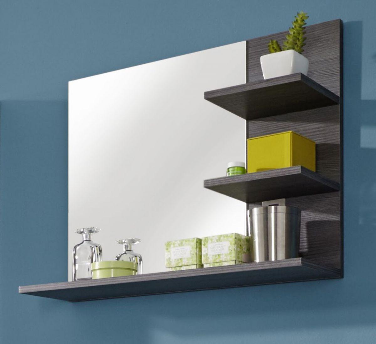 Badezimmer Bad Spiegel Miami Sardegna Rauchsilber grau mit Ablagen 70 cm