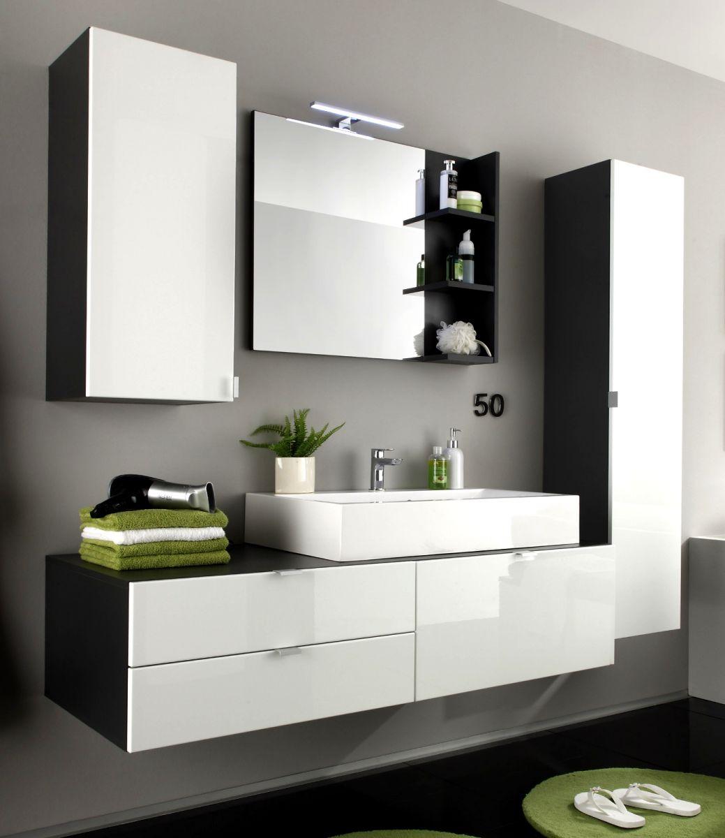 Badezimmer Badmöbel Set Beach weiss Hochglanz grau optional mit Waschbecken und Spiegellampe