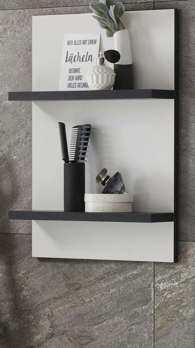Badezimmer Hängeregal Design-D in weiss und schwarz 40 x 62 cm