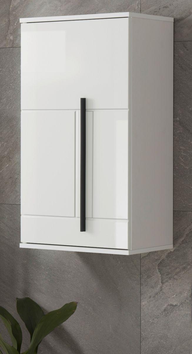 Badezimmer Hängeschrank Design-D in Hochglanz weiss 45 x 85 cm