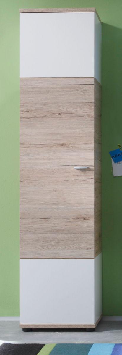 Badezimmer Hochschrank Eiche San Remo und weiss 36 x 189 cm Campus