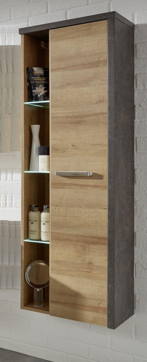Badezimmer Hochschrank-Hängeschrank Bay Eiche Riviera Honig und grau Beton Design mit Regal 160 cm