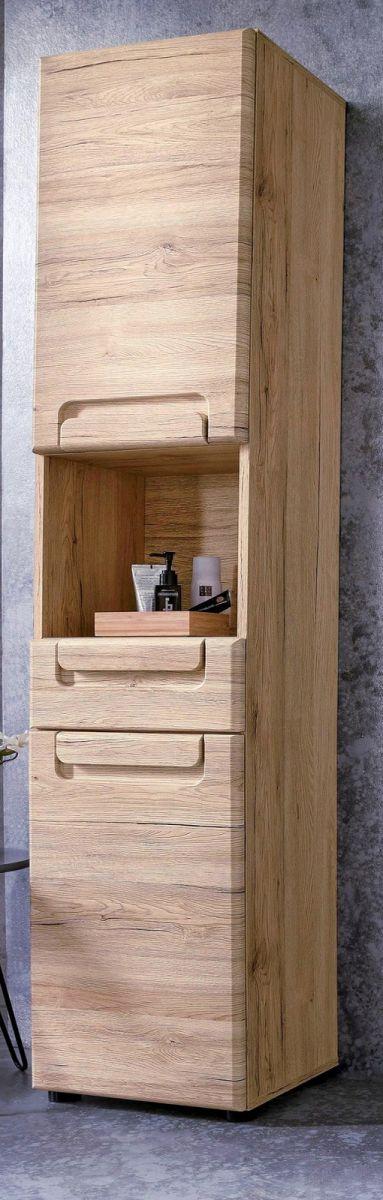 Badezimmer: Hochschrank Malea Hochglanz weiss (37 x 184 cm)